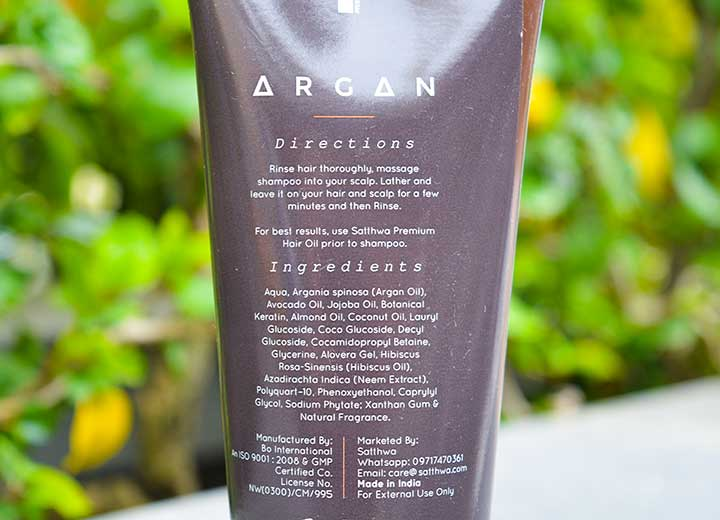 Satthwa Moroccan Argan Oil Shampoo Ingredients