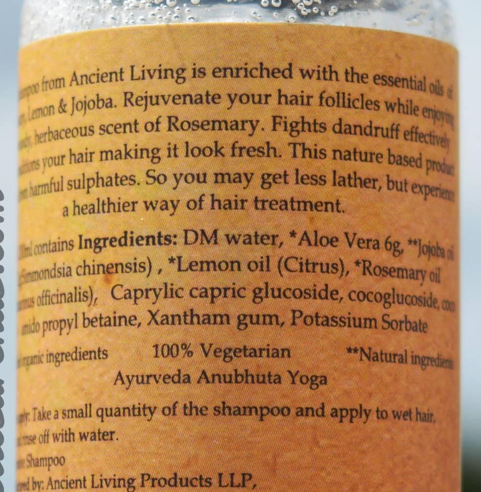 Ancient Living Rejuvenative Shampoo Ingredients