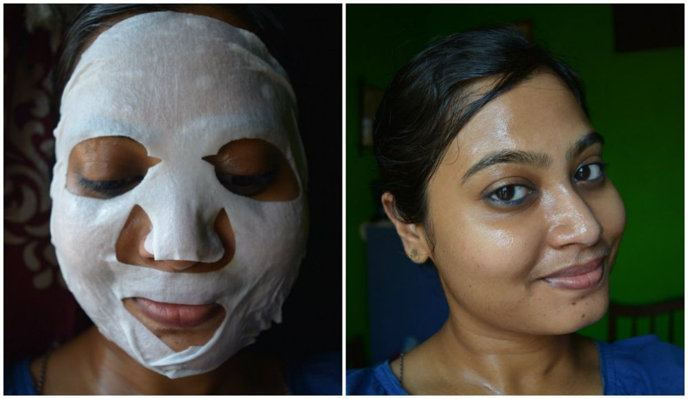 Forest Essentials Tejasvi Brightening and Lightening Ayurvedic Sheet Mask Application