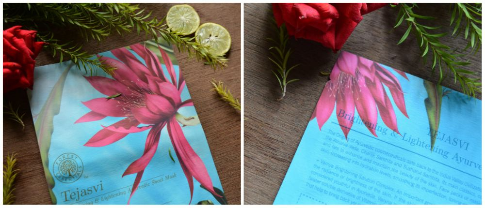 Forest Essentials Tejasvi Brightening and Lightening Ayurvedic Sheet Mask Packaging