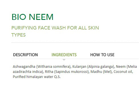 Preservative Free Cosmetics and Biotique Neem Face Wash