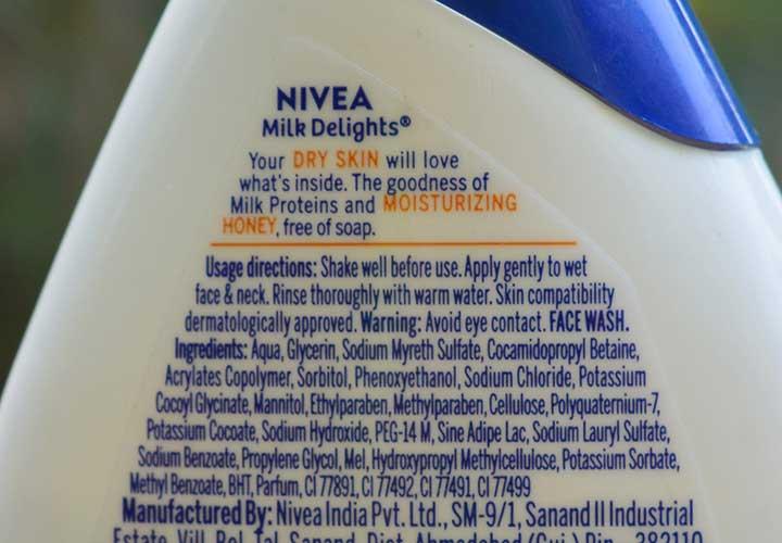 Nivea Milk Delights Moisturizing Honey Face Wash Ingredients