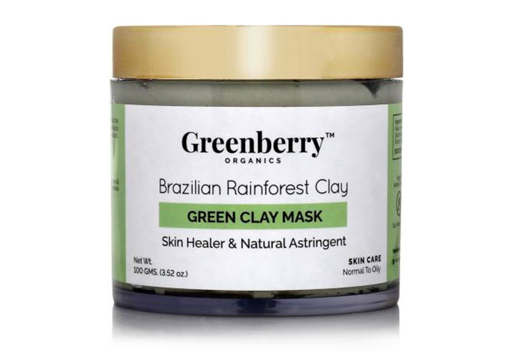 Best Chemical Free Face Masks in India Greenberry Organics Brazilian Rainforest Clay Green Clay Mask