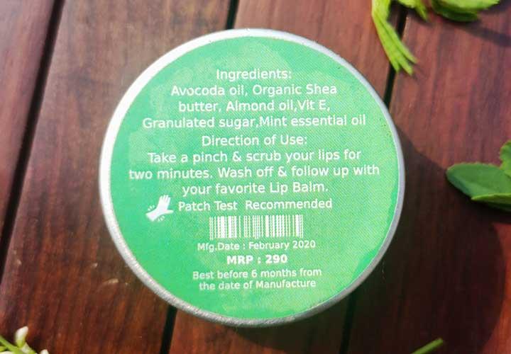 Deyga Mint Lip Scrub Ingredients