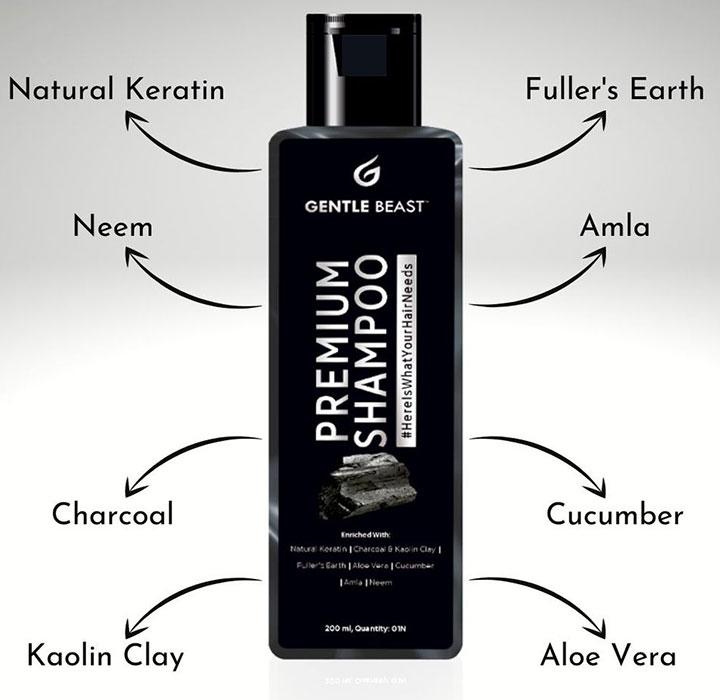 Gentle Beast Premium Natural Shampoo with Keratin Best Anti Hair Fall Shampoo in India