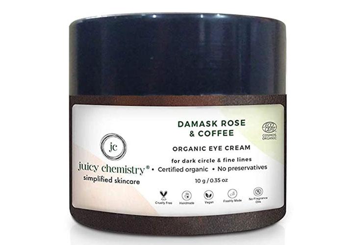 Juicy Chemistry Damask Rose & Coffee Organic Eye Cream Best Under Eye Creams in India
