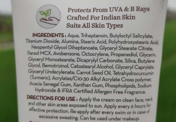 Mama Earth Sunscreen Ingredients