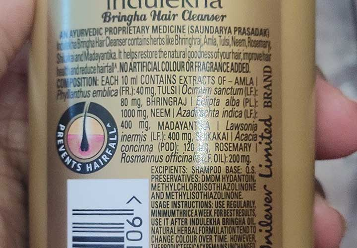 Indulekha Bringha Shampoo Ingredients