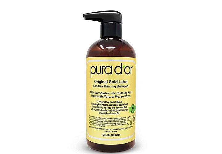 PURA D'OR Original Gold Label Anti-Thinning Shampoo Best Shampoo with Biotin