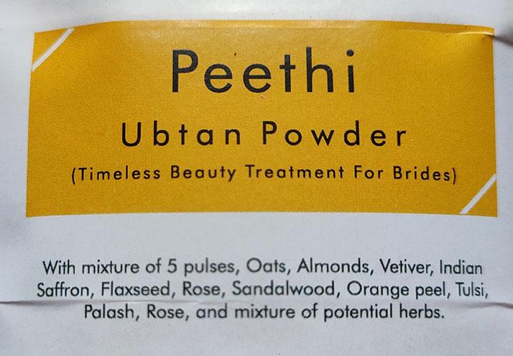 The Earthen Charm Peethi Ubtan Powder Ingredients