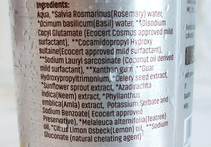 Vilvah Herbal Shampoo for Dandruff Control Ingredients
