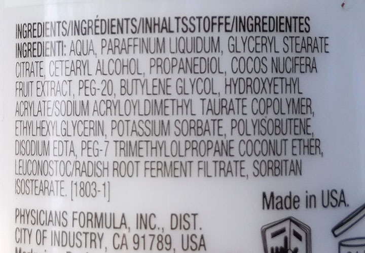 Ingredient Analysis of Physicians Formula Coconut Milk Eye Makeup Remover