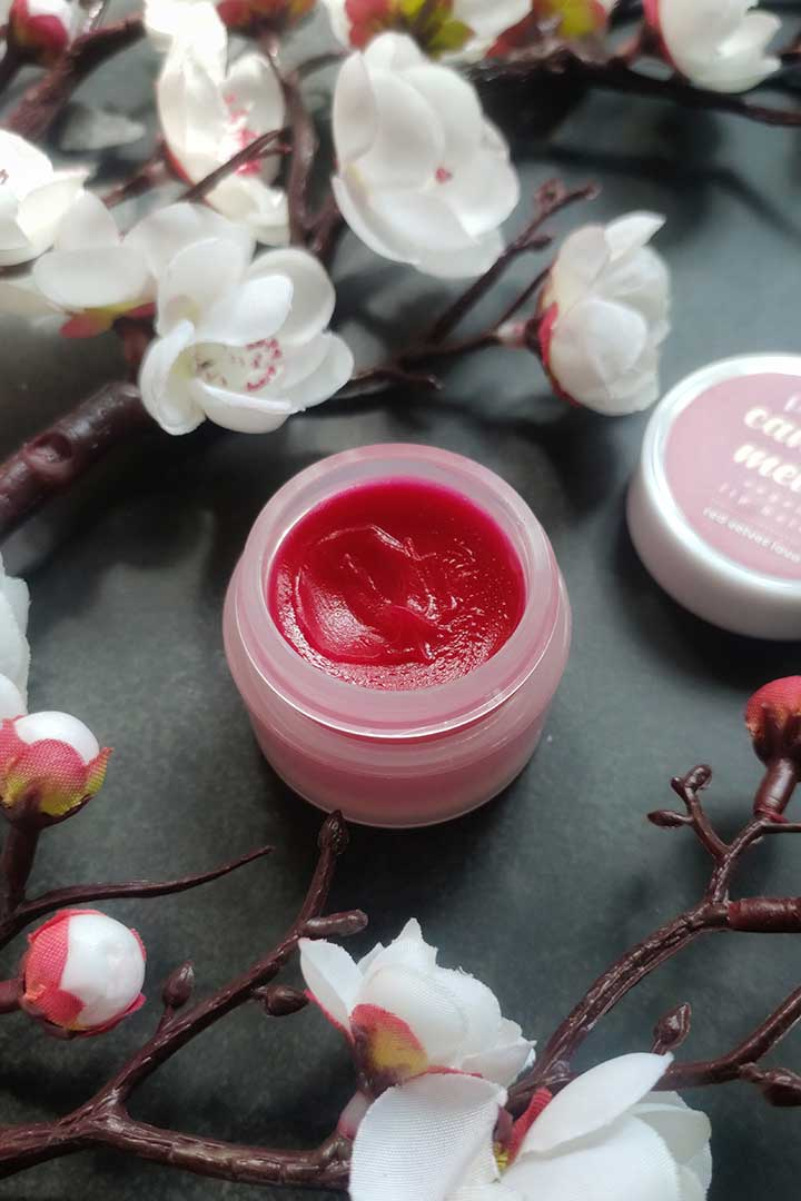 Plum Candy Melts Vegan Lip Balm Red Velvet Love Texture
