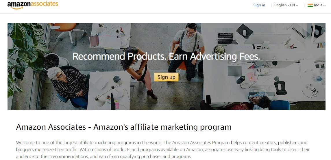 Amazon Affiliate Sign in for Amazon Associates Program in India