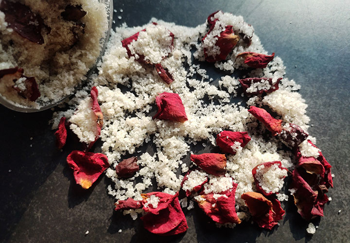 Bath Salts with Rose Petals and Rose Essential Oil