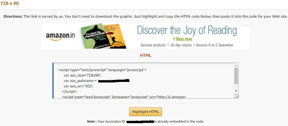 Embedded HTML Code for a Fixed Size of Banner Containing the Link of Amazon Affiliate Program