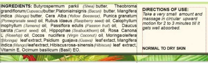 Ingredients of Vanaha Botanical Skincare Night Repair Face Balm