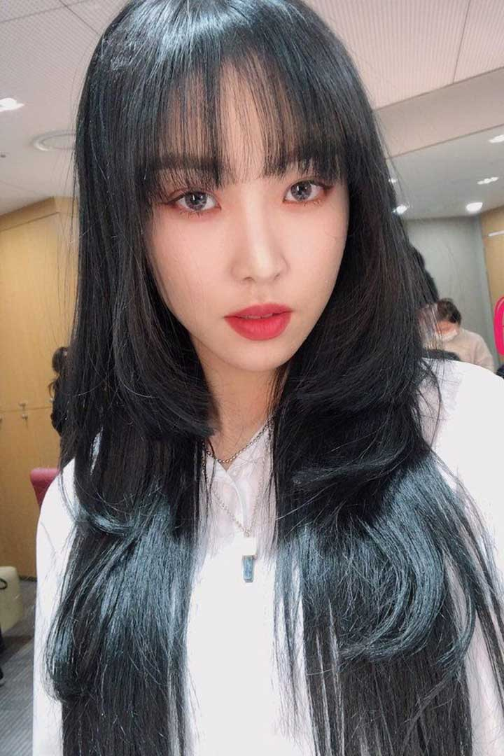 K-Pop Celebrity with Layered Hime Cut Hairstyle