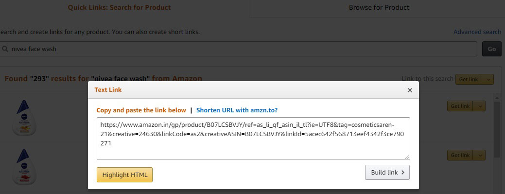 Link Copy and Paste on the Amazon Associate Page