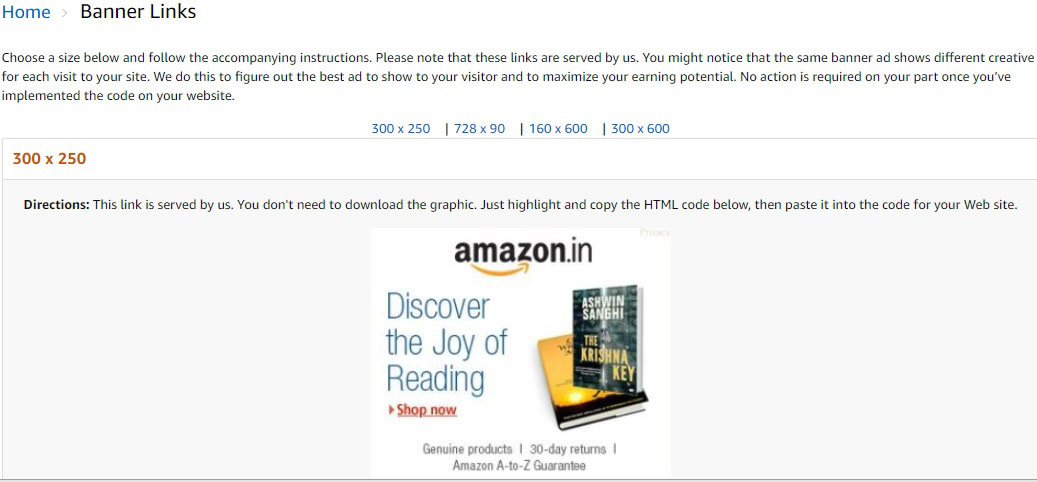 Post an Attractive Banner with a Link Back to the Product Listed on Amazon dot In Site