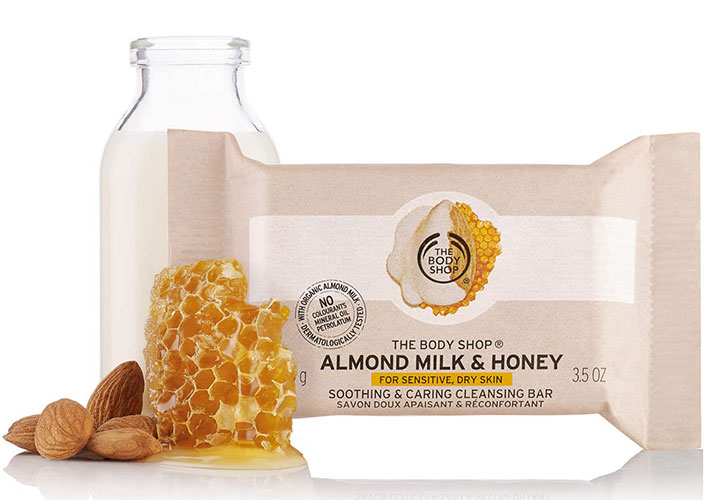 The Body Shop Almond Milk & Honey Soothing and Caring Cleansing Bar Best Soap in India for Dry and Sensitive Skin