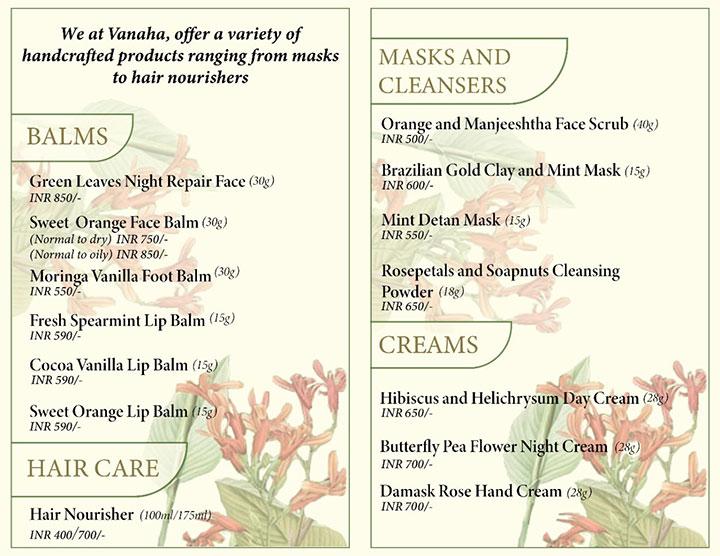 Vanaha Botanical Skincare Brochure