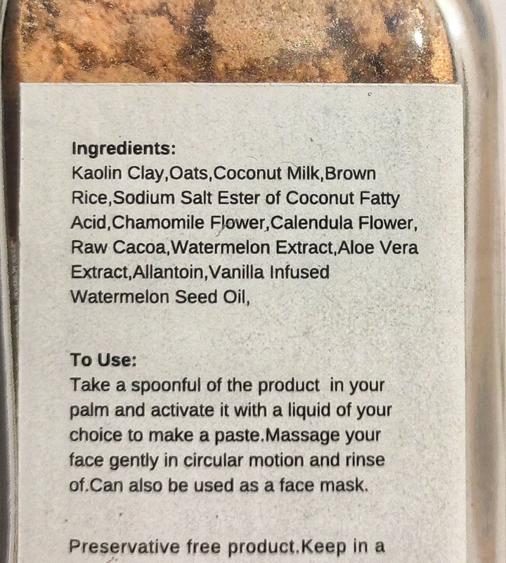 Ingredients Used in a Powder Cleanser or Powder Face Mask