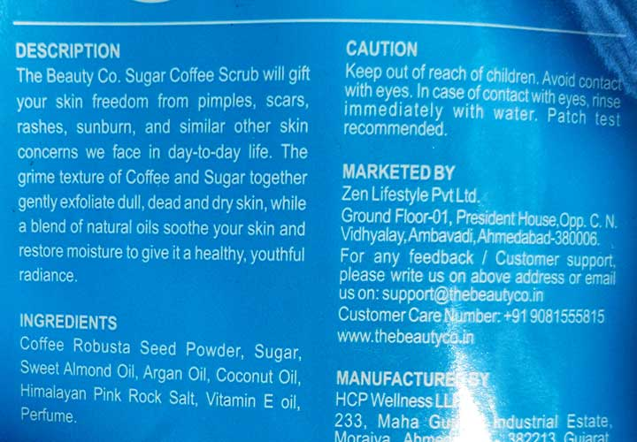 The Beauty Co. Coffee Scrub Ingredients