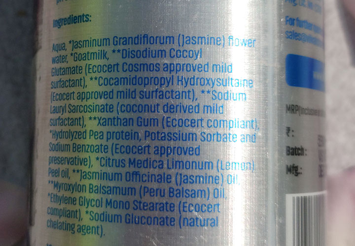 Vilvah Goat Milk Shampoo Ingredients