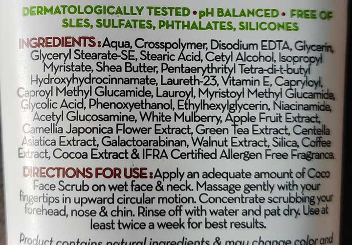 Mamaearth Coco Face Scrub Ingredient Analysis
