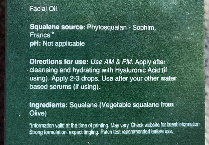 Minimalist 100% Squalane Ingredients