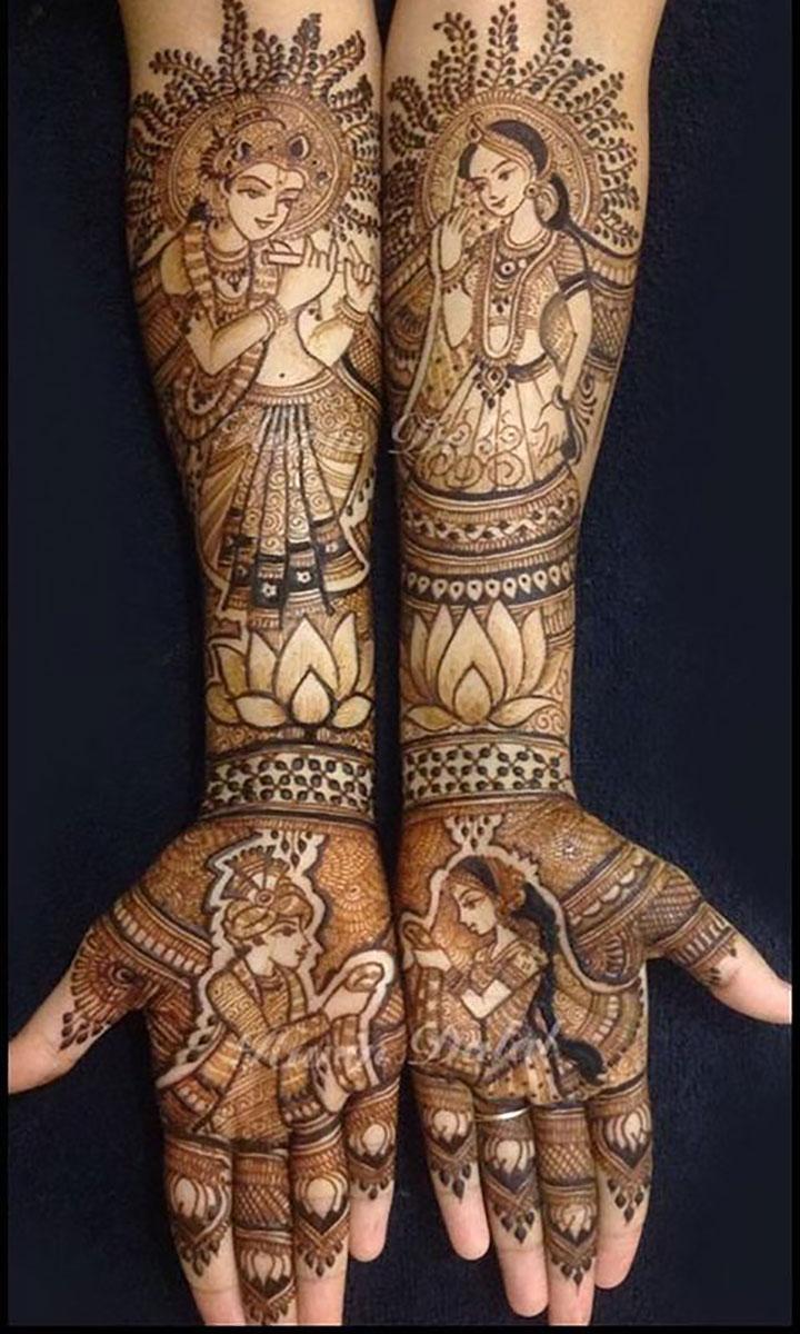 Beautiful Mehendi Design Depicting the Wedding Rituals