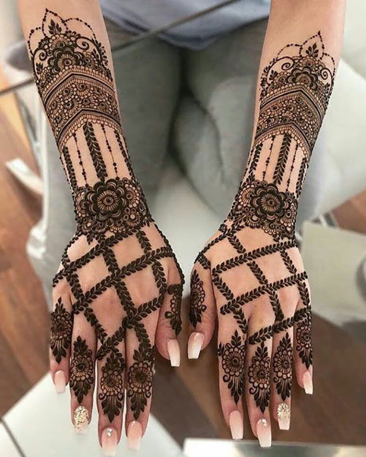 Full Hand Mehendi with Floral Designs