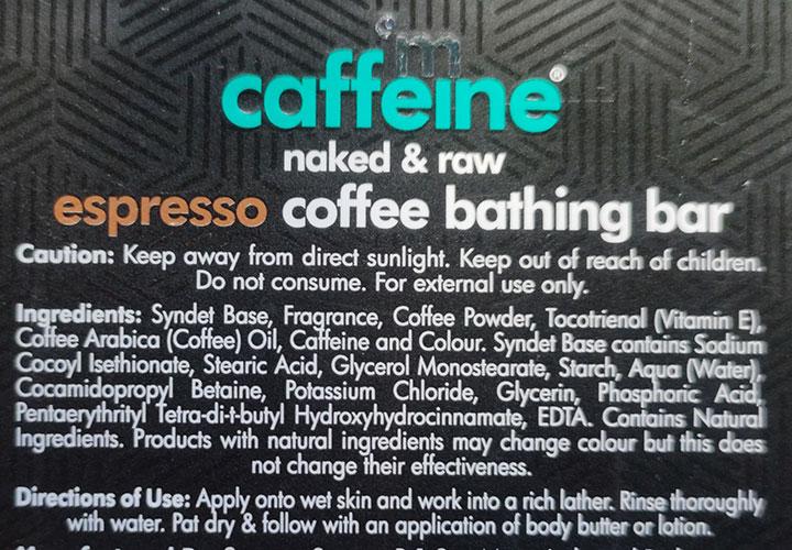 MCaffeine Expresso Coffee Bathing Bar Ingredients