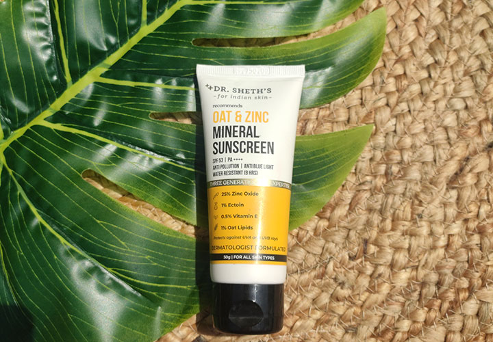 Dr. Sheth's Oat and Zinc Mineral Sunscreen with SPF 50+