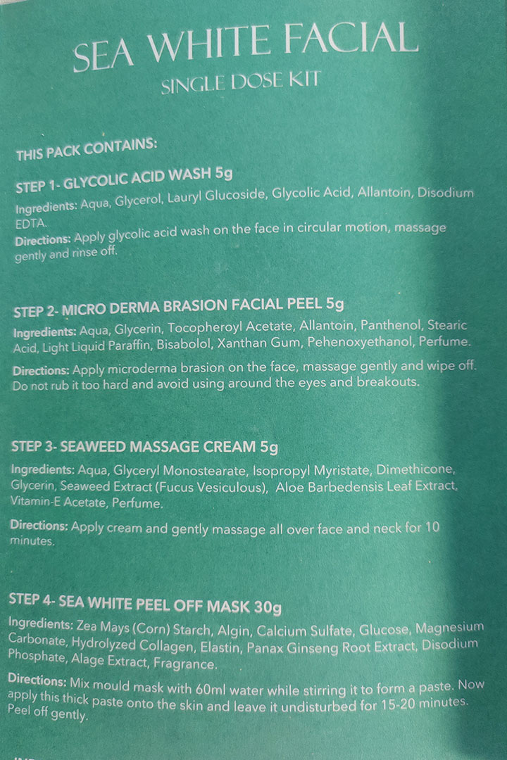 Ingredient Analysis and Steps of Application of O3+ Professional Sea White Facial Kit