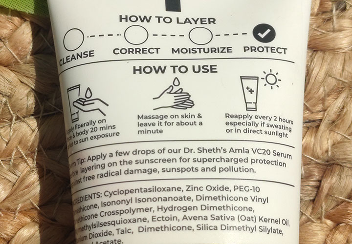 Ingredients of Dr. Sheth's Oat and Zinc Mineral Sunscreen