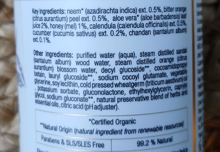 Just Herbs Silksplash Rehydrant Face Wash Ingredients