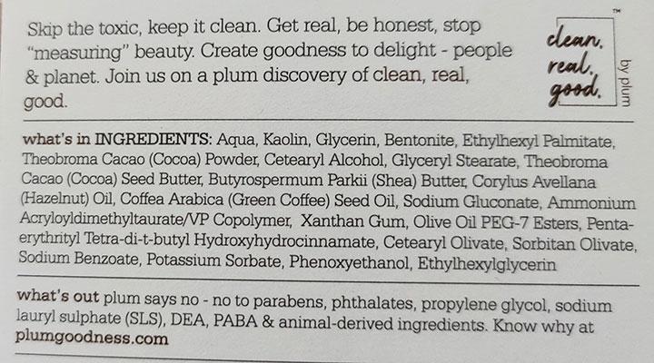 Plum Choco-Latte Nourishing Souffle Face Mask Ingredients