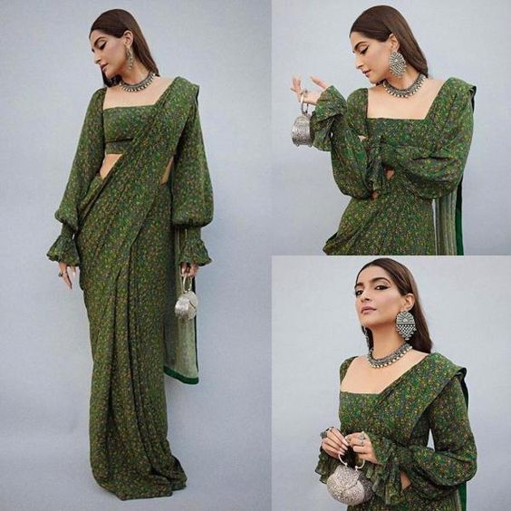 Bell-Sleeves Trendy Saree Blouse Design