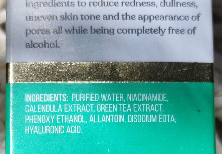 Ingredients of Dr. Sheth's Niacinamide and Green Tea Calming Toner
