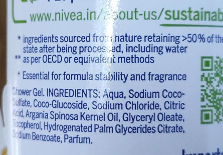 Ingredients of NIVEA Naturally Good Shower Gel
