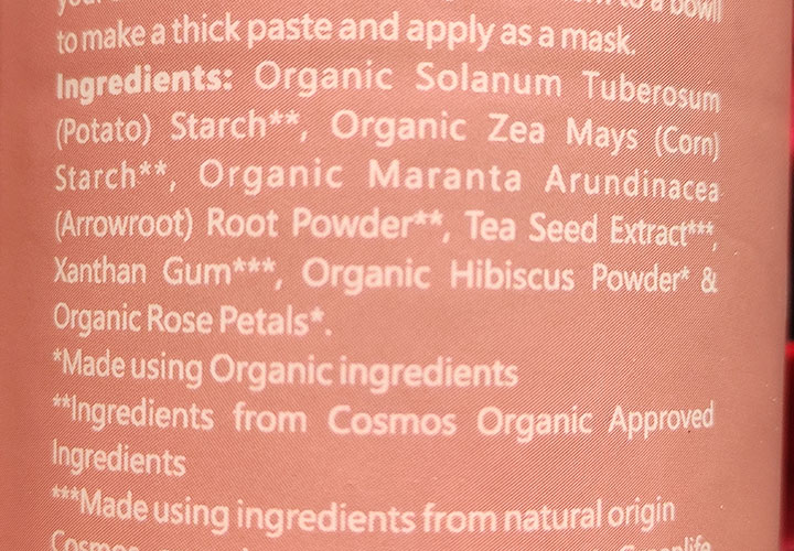 Ingredients of Earth Rhythm Hibiscus Rose Cleansing Buff