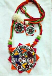 Handmade Neckpiece Set with MAdhubani Drawing by Saajkatha
