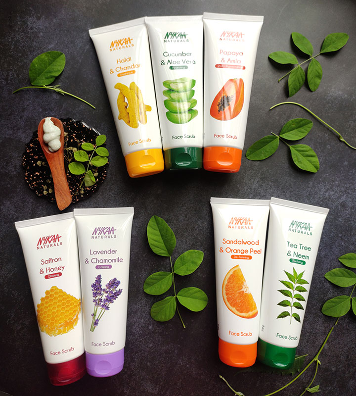 Seven Variants of Nykaa Naturals Face Scrub Review with Ingredient Analysis